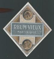 """Etiquette Rhum   Vieux Martinique  """"visage Homme Et Visage Femme""""  Imp Plouviez & Cie  N°936  Vers 1930 - Rhum"""