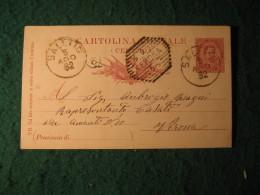 Regno Italia C. 10 Cartollina  Postale     -   5 AGOSTO 1892  ANNULLO OTTAGONALE  A BARRE VERONA  E  SALETTO -  148