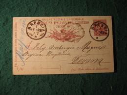 Regno Italia C. 10 Cartollina  Per L Estero     -  DICEMBRE 1892     ANNULLO OTTAGONALE  A BARRE VERONA  BRESCIA  -  151