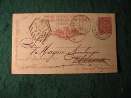 Regno Italia C. 10 Cartollina  Per L Estero     -  GIUGNO  1892   ANNULLO OTTAGONALE  A BARRE VERONA E FELTRE -  153