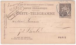 Entier Postal Carte-télégramme CHAPLAIN Griffe Trouvé à La Boîte PARIS 1885