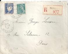 N° 521 - 538 Sur RECOMMANDE De NEHOU (50) Du 2/7/42 - Postmark Collection (Covers)