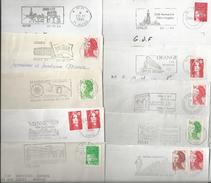 Archéologie - Lot De 10 Flammes Différentes Sur Enveloppe, Thème : La Gaule Romaine