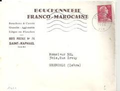 """N°1011 Sur Lettre De ST RAPHAEL Du 19/10/1956 """"BOUCHONNERIE FRANCO MAROCAINE"""" - Boissons"""