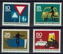 DDR 1966 - MiNr 1169 -1172 - Sicherheit Im Straßenverkehr - PKW, Radfahrer, Motorradfahrer, Krankentransportwagen