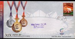 India 2010 XIX Commonwealth Games Delhi Hockey Sport Camp P.O Delivered FDC # 18 - Giochi