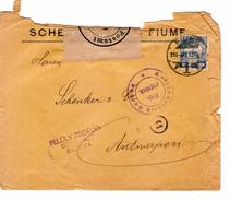 Fiume Hungarian Stamp 1916 Censored Twice Aachen& Fiumei To Antwerp Belgium PR4619 - 1850-1918 Empire
