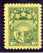 LATVIA 1932 Arms 10 S. With White Back LHM / *.  Michel 174x - Latvia
