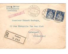 Suisse-Switzerland Registered Cover Oerlikon 21/5/1918 Censored To Belgium Watermael PR4621 - Suisse