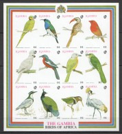 OO124 !!! IMPERFORATE GAMBIA FAUNA BIRDS OF AFRICA 1SH MNH