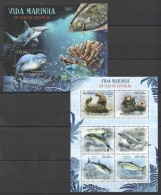 OO296 2012 MOCAMBIQUE FISH & MARINE LIFE VIDA MARINHA EM VIAS EXTINCAO KB+BL MNH