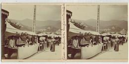 En 1900 ITALIE GENOA GÊNES : Marchand De Bougies Du CAMPO SANTO - PHOTO STÉRÉOSCOPIQUE STEREO STEREOVIEW Petits Métiers - Stereoscoop
