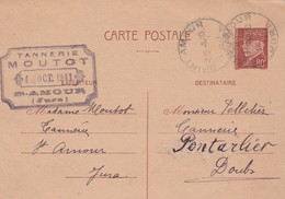 Entier 1941 / Pétain 80 C / Carte Commerciale / Tannerie MOUTOT / 39 Saint Amour / Jura - Cartes