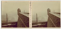 En 1900 ITALIE GENOA GÊNES MILITARIA  : Le CAMPO SANTO Vu Du Fort CASTELLACCIO - PHOTO STÉRÉOSCOPIQUE STEREO STEREOVIEW - Stereoscopio