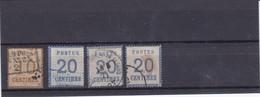 FRANCE 1870 TIMBRES DITS D'ALSACE LORRAINE 10C BISTRE BRUN + 20C BLEU PAR 3 EXEMPLAIRES - Alsace-Lorraine