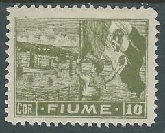 1919 FIUME ALLEGORIE E VEDUTE 10 COR CARTA C MH * - P55-10 - 8. Occupazione 1a Guerra