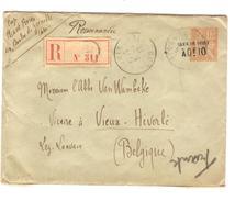 France Entier Enveloppe 15c Surcharge Taxe Réduite + TP Verso Paris 1913 V.Vieux-Héverlé(Oud Heverle) 1913 C.d'arrivée