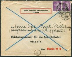 1944 Norway Germany, Durch Deutsches Dientspostamt DDP Cover - Oslo P4 Reichskommissar Fur Die Seeschiffahrt