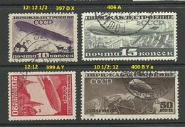 RUSSLAND RUSSIA 1931 Michel 397 & 399 - 400 & 406 O Luftschiffbau Zeppelin