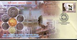 India 2009 Mahatma Gandhi Maha Mudra Mahotsava Currency Coin Special Cover # 7412