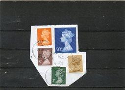 GRANDE-BRETAGNE    5 Timbres       Sur Fragment Oblitérés - Great Britain
