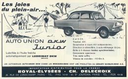 Ancienne Publicite (1962) : Auto-Union DKW Junior, Les Joies Du Plein-air, Camping - Publicités