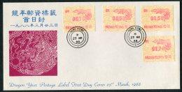 1988 Hong Kong FRAMA ATM Year Of The Dragon FDC. Original Values First Day Cover - Hong Kong (...-1997)