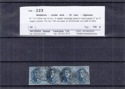 Belgique - COB 11A Oblitéré - Bande De 4 - Cachet P24 - 3 Timbres 4 Marges - Signé - Valeur 200 €