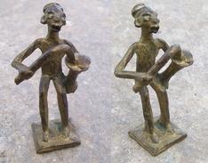 BRONZE Statuette Musicien Africain 85mm - Arte Africana