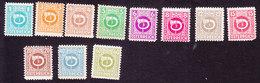 AMG Of Austria, Scott #4N1-4N6, 4N8-4N10, 4N13-4N14, Mint Hinged, Post Horn, Issued 1945