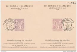 BLOC FEUILLET NUMEROTE SAGE 5F EXPOSITION PHILATELIQUE MONTPELLIER 1939      --     TDA105 - Marcophilie (Lettres)