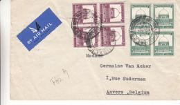 Palestine - Lettre Avion De 1935 - Oblit Jerusalem - Exp Vers Anvers En Belgique - Avec 2 Blocs De 4 - Palestine