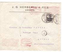 Guerre-Oorlog 14-18 TP Oc 16 J.G.Herberts & Fils Anvers C.Antwerpen 3/6/18 Censure V.Anvers PR4643 - WW I
