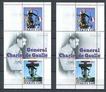 201 BURKINA FASO - Vignette Charles De Gaulle - Surchage Argent Et Or - 2 Feuillets - Neuf ** (MNH) Sans Charniere