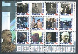 201 ARUBA - CHARLES De GAULLE - Feuille De 12 Vignettes Differentes - Neuf ** (MNH) Sans Trace De Charniere