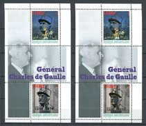 201 CENTRAFRIQUE - Vignette Charles De Gaulle - Surchage Argent Et Or - 2 Feuillets - Neuf ** (MNH) Sans Charniere