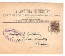 Guerre-Oorlog 14-18 TP Oc 11 S/Manchon La Victoria De Berlin Assurance Càp Brüssel 1917 Censure V.Anvers PR4649 - [OC26/37] Staging Zone
