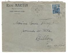 OBLITERATION SUR LETTRE A EN TETE DE ALES à LE TEIL D'ARDECHE DU 26/4/1929 - 1877-1920: Semi Modern Period