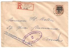 Guerre-Oorlog 14-18 TP Oc 19 S/L.recommandée Censure V.Anvers PR4650 - [OC26/37] Staging Zone