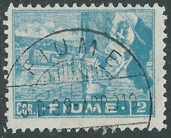 1919 FIUME USATO ALLEGORIE E VEDUTE 2 COR CARTA C - P34-4 - 8. Occupazione 1a Guerra