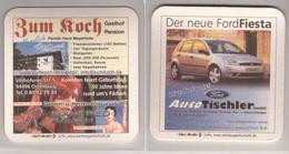 Werbebierdeckel , Zum Koch , Gasthof  - Der Neue Ford Fiesta - Bierdeckel