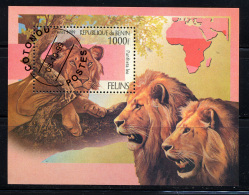 BENIN 1999, LIONS,  1 Bloc,  Oblitérée/ Used. R1353