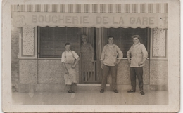 CARTE PHOTO  A SITUER  BOUCHERIE DE LA GARE