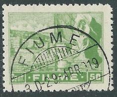 1919 FIUME USATO ALLEGORIE E VEDUTE 50 CENT CARTA C - P35-8 - Occupation 1ère Guerre Mondiale