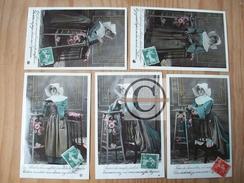 CARTE FANTAISIE Femme Religieuse Prieres Cornette Coiffe Nonne 5 CPA édition PC ETOILE 4085 Fleurs Roses Glacé Jésus - Jésus