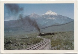ECUADOR, Panoramic View: The Ilinizas With A Train, Used Postcard [20066] - Ecuador
