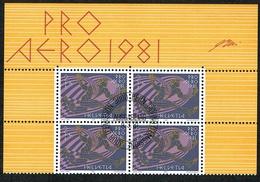 BLOC DE 4 PRO AERO TIMBRES OBLITERES 1er JOUR 1981 C/DES TIMBRES SUISSES Nr:F48. Y&TELLIER Nr:48. MICHEL Nr:1196.