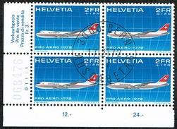 BLOC DE 4 PRO AERO TIMBRES OBLITERES 1er JOUR 1972 C/DES TIMBRES SUISSES Nr:F47. Y&TELLIER Nr:47. MICHEL Nr:968.