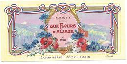 Etiquette SAVON REMY, Paris - Aux FLEURS D'ALSACE - Ruban Et Fleurs Tricolores - Labels