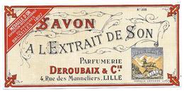 Etiquette SAVON A L'EXTRAIT De SON - Parfumerie DEROUBAIX & Cie, Lille - Labels